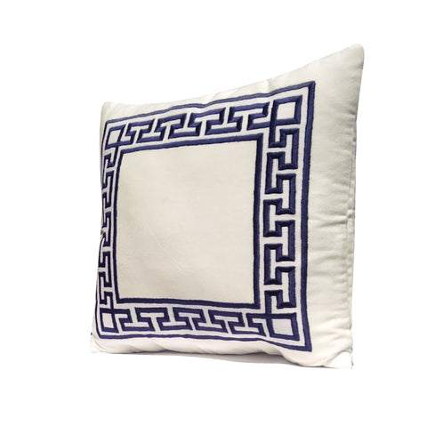 Greek Key Embroidered Pillow Cover, Ivory Velvet Pillow Case