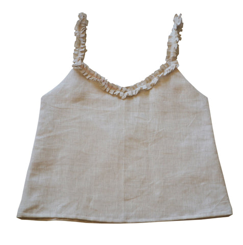 Linen Top With Ruffled Straps And Neck Camisole
