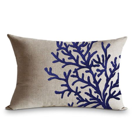 Coral embroidered linen pillow cover, Mediterranean Pillow case, Throw cushion cover