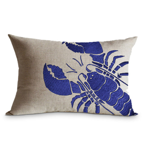 Lobster embroidered linen pillow , Beach pillow case