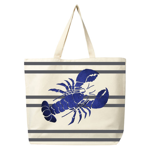 Cotton canvas tote bag, embroidered beach tote