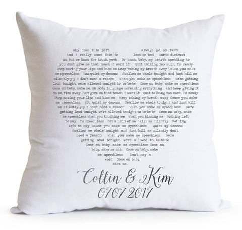 Custom Love Song Personalized Pillow Cover- Couple Pillow Cover -Anniversary/Wedding Gift