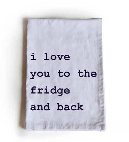 Cotton printed tea towel, Typography kitchen linen
