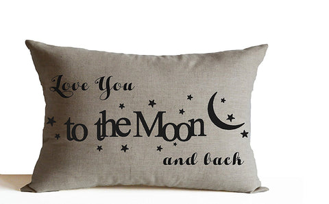 Love You To The Moon And Back Decorative Linen Throw Pillow Cover