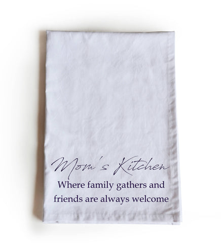 Mom's kitchen printed cotton tea towel