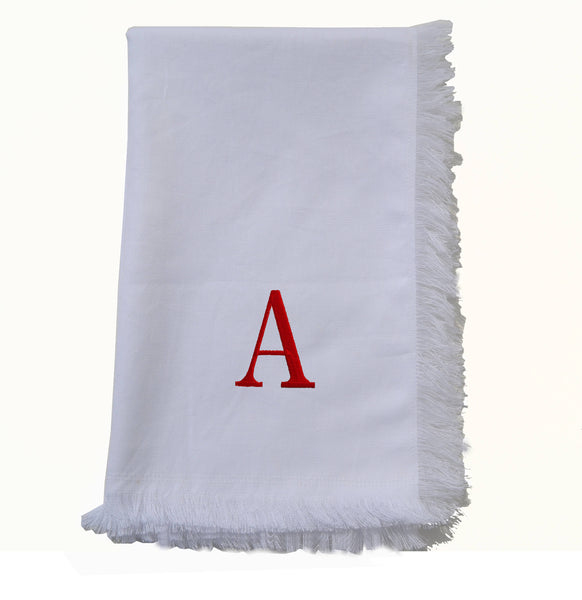 White Cotton Monogrammed Tea Towel With Fringes, Personalized Embroidered  Dish Towel