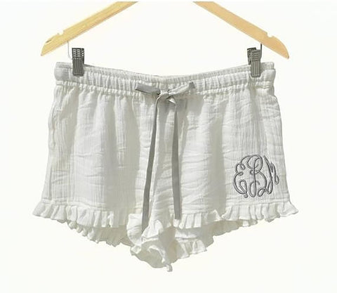 White Cotton Monogrammed PJ Short, Pajama Short