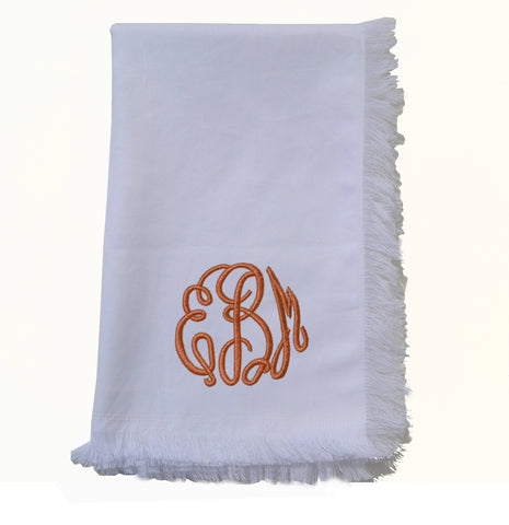White cotton monogrammed tea towel, Tea towel with fringes