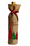 Handmade burlap Christmas bag with grosgrain ribbon