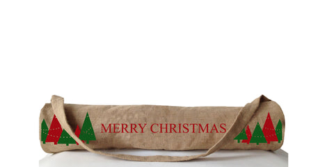 Handmade yoga mat bag with printed Christmas greeting