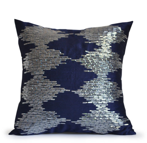 Navy Blue Decorative Throw Pillow Cover With Metallic Silver Sequin Intricate Embroidery In Ikat Pattern -Handcrafted Wedding Anniversary Housewarming Gifts