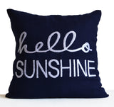 Handcrafted navy blue throw pillow with personalized embroidery