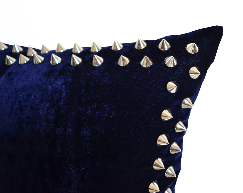 Pleasing Designer Decorative Throw Pillows With Studs On Navy Velvet Pillow Cover For Chic Modern Avant Garde Home Decor Theyellowbook Wood Chair Design Ideas Theyellowbookinfo