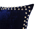 Handmade navy blue velvet throw pillow with studs