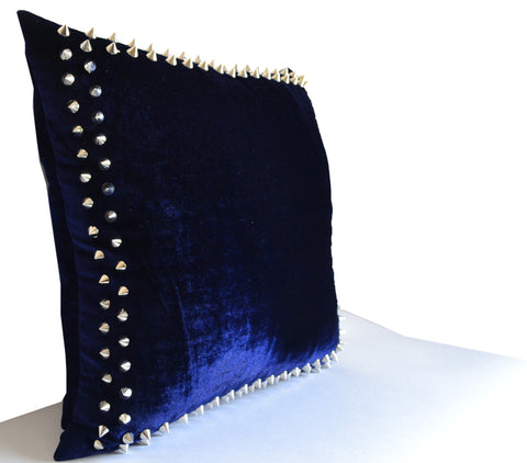 Amazing Designer Decorative Throw Pillows With Studs On Navy Velvet Pillow Cover For Chic Modern Avant Garde Home Decor Theyellowbook Wood Chair Design Ideas Theyellowbookinfo