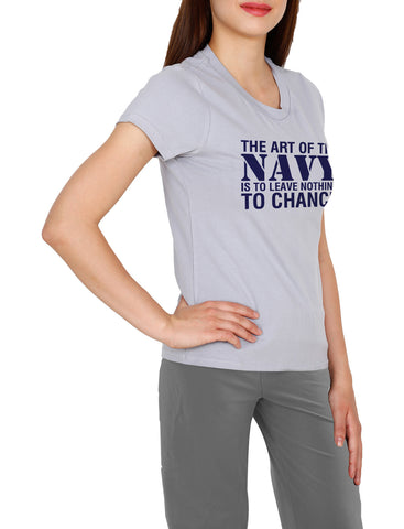 U Neck Navy T-Shirt For Women, Printed Cotton Tees