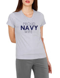 Proud navy wife printed cotton t-shirt for women