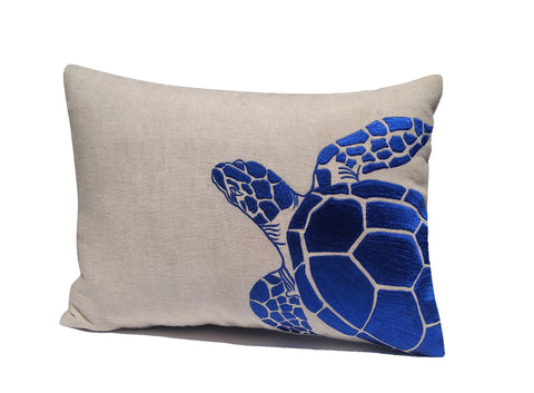 Blue Turtle Throw Pillow