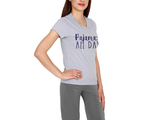 "Casual And Comfortable Cotton t-Shirt With ""Pajamas All Day"" Printed In Navy Blue Color For Leisure Time"