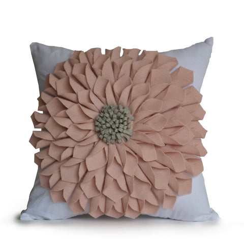 Pink felt flower pillow cover by Casa Amore International