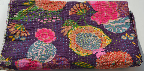 Handcrafted purple cotton bedspread in floral design