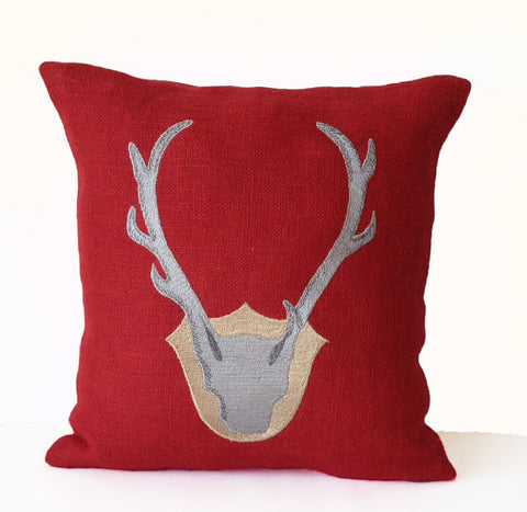 Handmade burlap red throw pillow with deer antler embroidery