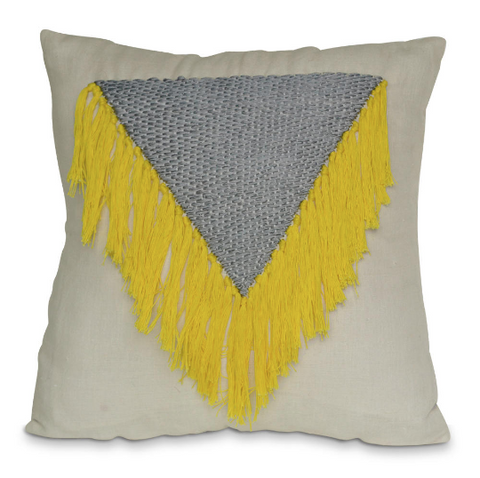 Shaggy boho chic yellow tassel pillow cover