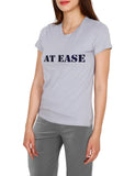 Cotton T-Shirt For Women With AT EASE Printed On It, Casual Cotton Tees