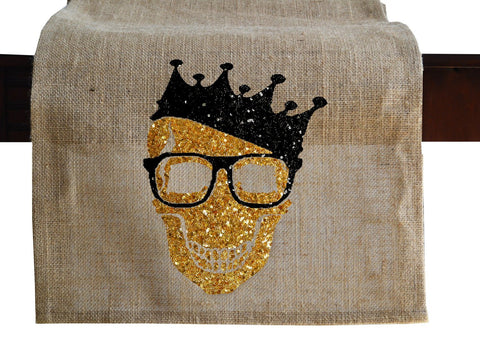 Gold Sequin Spooky Skull Burlap Table Runner