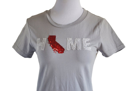 Amore Beaute State Map Embellished Cotton T-Shirt