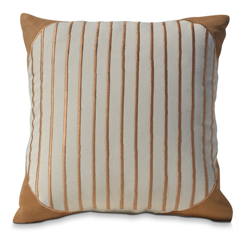 Geometric Stripes Hand Embroidered Decorative Cotton Pillow Cover