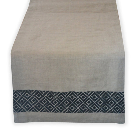 Handcrafted Linen Chippendale Embroidery Table Runner -Beige Grey Table Runner With Black Geometric Embroidered Pattern