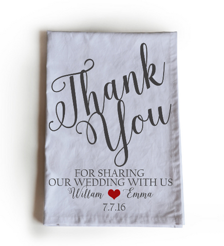 Wedding favor towels with personalized message