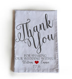 Handmade, personalized Wedding favor tea towels