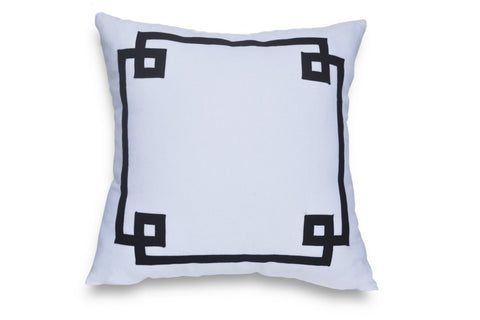 White And Navy Greek Key Cotton Decorative Throw Pillow Cover