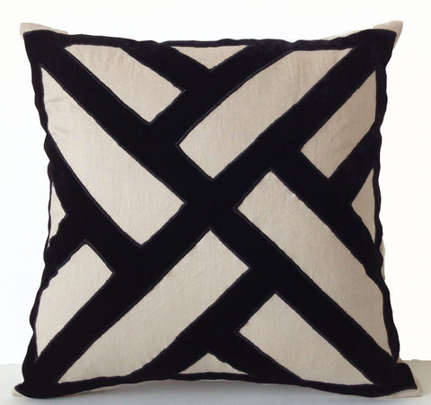 Beige Grey Linen Throw Pillow Cover With Handcrafted Black Velvet Applique Chippendale Design