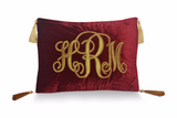 Monogrammed Decorative Velvet Throw Pillow Cover With Golden Embroidery -Customized Pillow Cover