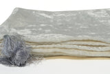 Amore Beaute Ivory Gray Velvet Throw Blanket With Tassels