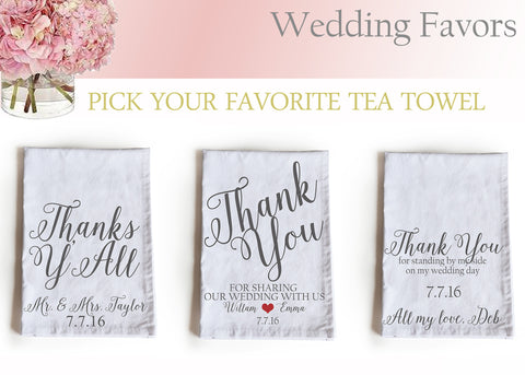 PersonalizedaHandmade, personalized Wedding favor tea towels Wedding favor tea towels