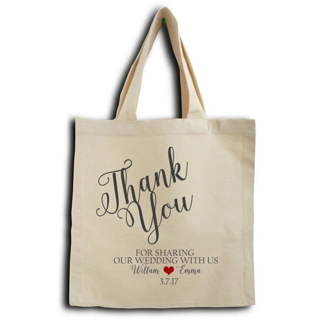 Handmade Customizable Wedding Tote Bag in Unbleached Cotton -Wedding Gift Bag