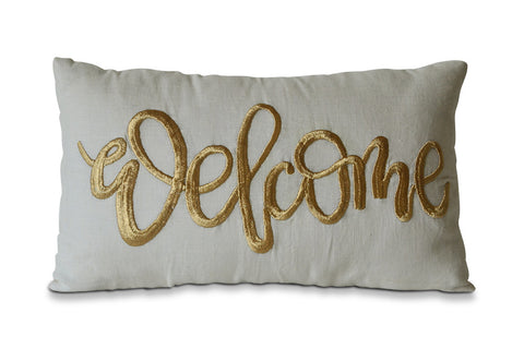 "Linen Pillow Cover With Hand Embroidered ""Welcome"" -Awesome Party And Home Decor Idea -Premium Decorative Pillow Covers"