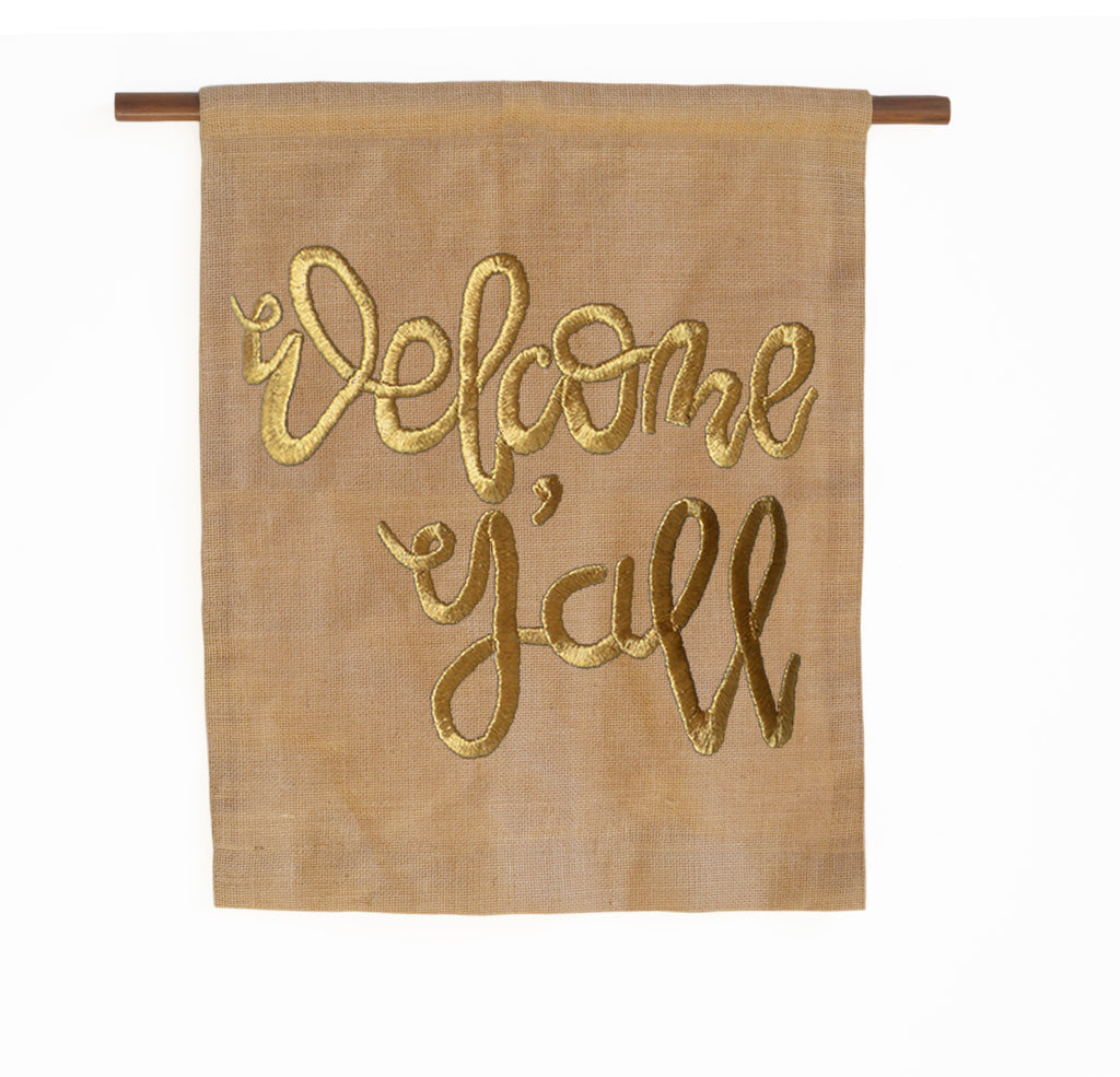Welcome Yu0027all Burlap Wall Art/Hanging