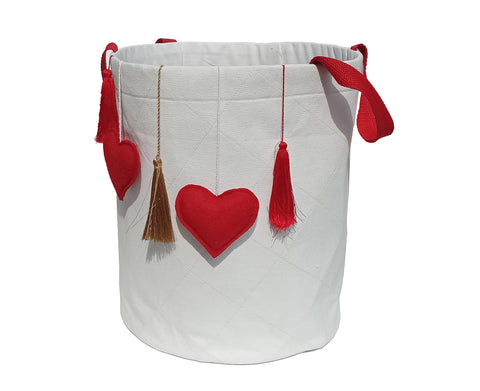 Hearts and Tassels Laundry Basket Quilt