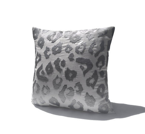 White Gray Leopard Embroidery Linen Pillow Cover