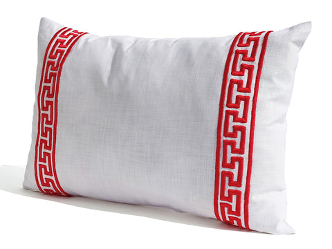 White Red Greek Key Pillow Cover