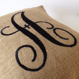 rustic burlap monogram pillow