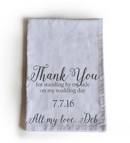 Handmade, customized bridesmaids wedding favor kitchen towels
