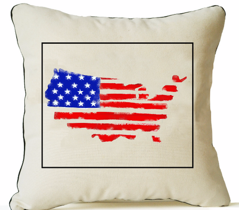 Handpainted American flag on organic cotton pillow