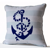 Handmade throw pillow cover with nautical theme