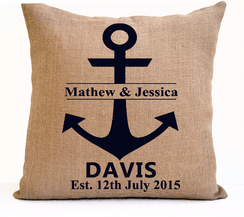 Handmade burlap throw pillow with custom monogram